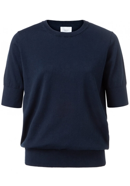 Yaya - Cotton Sweater With Short Sleeves - Deep Dark Blue