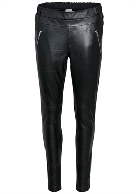Kaffe - Sofie Leather Pants - Black Deep/Antique Silver