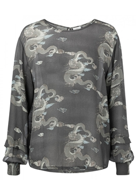 Yaya - Blouse With Japanese Print - Stone Brown Dessin