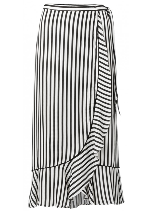 YAYA - Striped Wrap Skirt with Ruffle - Black Dessin