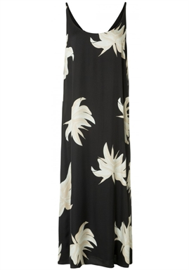 YAYA - Long Strappy Dress With Jungle Flower Print - Black Dessin