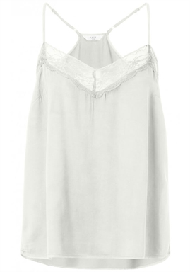 YAYA - Camisole top with spagetti straps and lace - Bone White