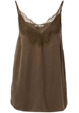 YAYA - Cupro Blend Strap Top Singlet With Lace - Greyish Brown