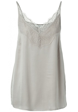 YAYA - Cupro Blend Strap Singlet With Lace - Silver
