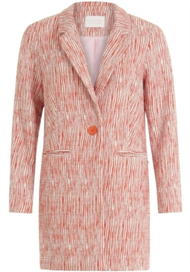 Coster Copenhagen - Long Jacket in boucle with pibing details - Grenadine