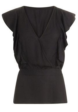 Coster Copenhagen - Top with Ruffle and band at waist - Black