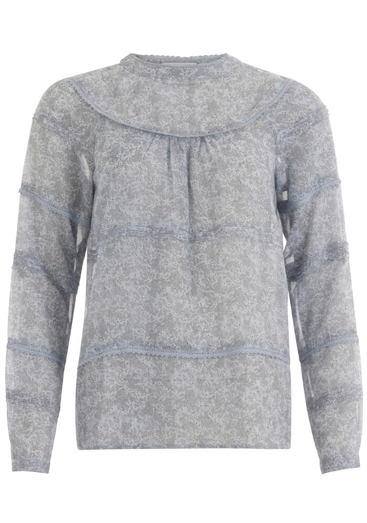 Coster Copenhagen - Blouse in Frost Print With Lace - Frost Print