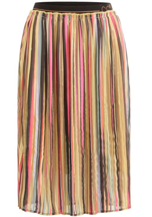 Coster Copenhagen - Skirt in plissé and multi Colour print - Multi Stripe print