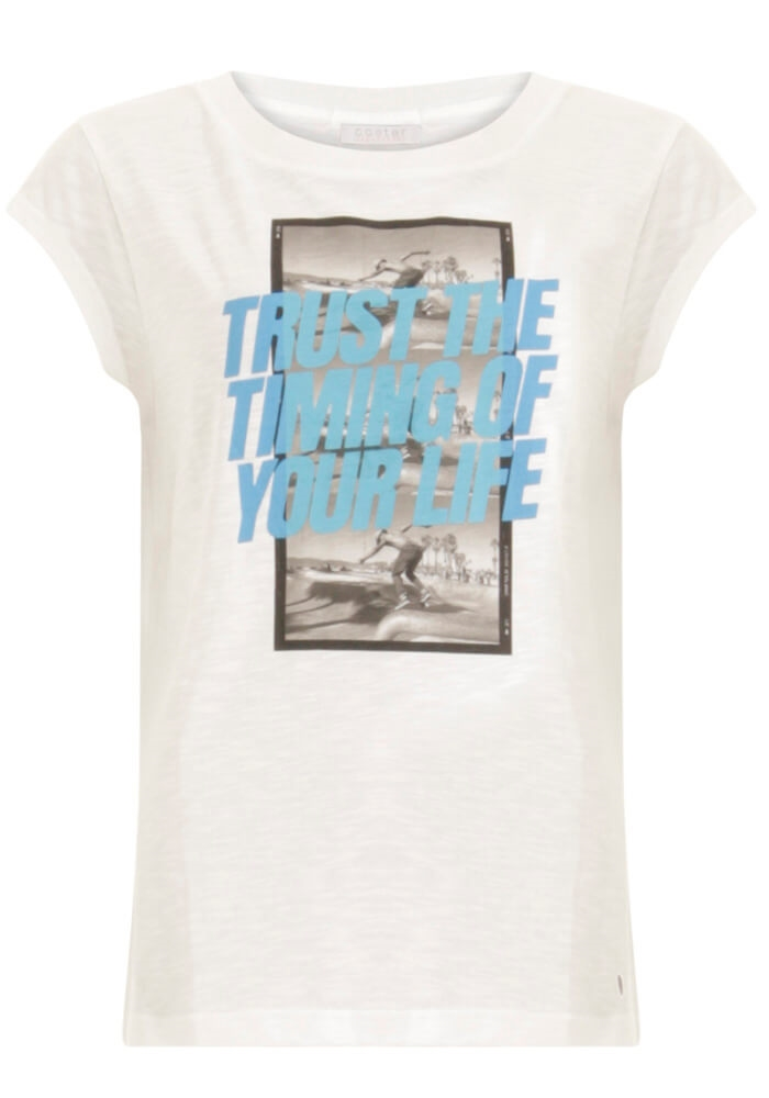 Coster Copenhagen - T-Shirt With Trust The Timing Print - White