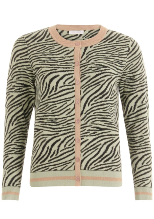 Coster Copenhagen - Knitted Cardigan in zebra pattern - Sea Grass