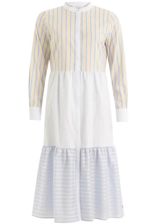 Coster Copenhagen - Long Wide Dress With China Collar - Blue/Yellow