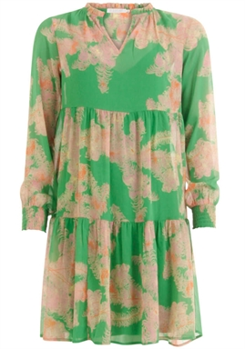 Coster Copenhagen - Dress With Frill Detail at Neck - Feather Bloom Green
