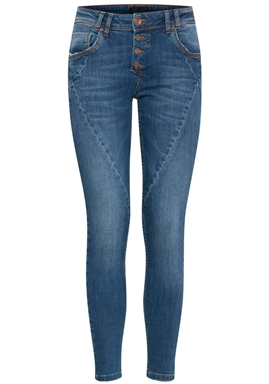 Pulz - Rosita Reg. Waist Ankle Jeans - Medium Blue Denim