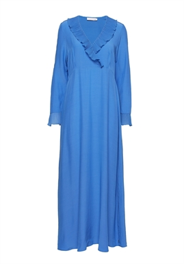 Coster Copenhagen - Dress with v-neck and ruffle - Sky Blue