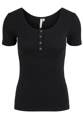 PIECES - PCKITTE SS TOP - BLACK
