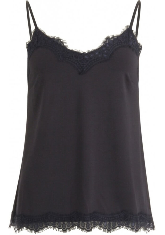 Coster Copenhangen - Strap Top With Lace - Night Sky Blue