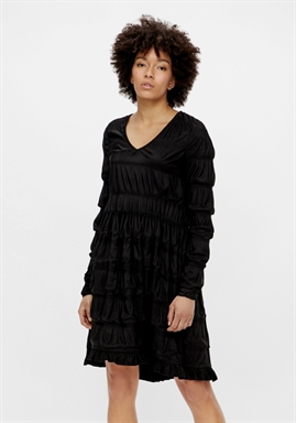 PIECES - PCBORA SMOCK LS DRESS - Black