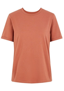 PIECES - PCRIA SS FOLD UP SOLID TEE - COPPER BROWN