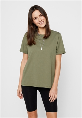 PIECES - PCRIA SS FOLD UP SOLID TEE - DEEP LICHEN GREEN