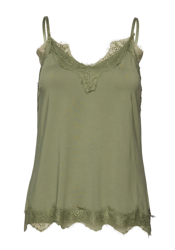 Coster Copenhagen - Strap Top With Lace - Dusty Green