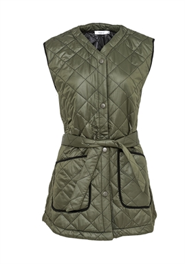 Noella - Sava Quilt Waistcoat - Army W. Black Piping