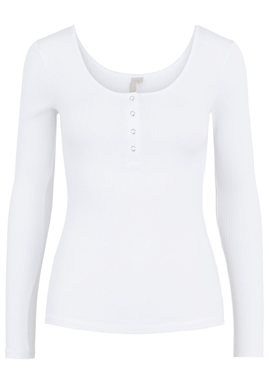 PIECES - PCKITTE LS TOP - BRIGHT WHITE