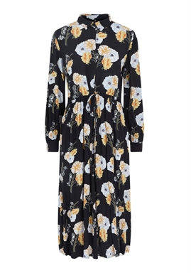 PIECES - PCNADI LS MIDI DRESS - Black Flowers