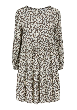 PIECES - PCUMISKA LS DRESS - Black Olive MINT GREEN FLOWERS