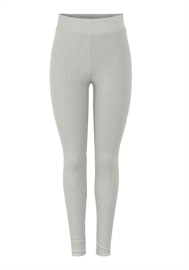 PIECES -  PCRIBBI HW LEGGINGS - LIGHT GREY MELANGE