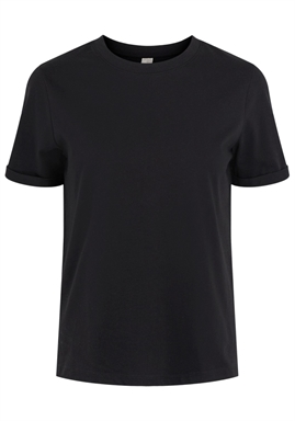 PIECES - PCRIA SS FOLD UP SOLID TEE - BLACK