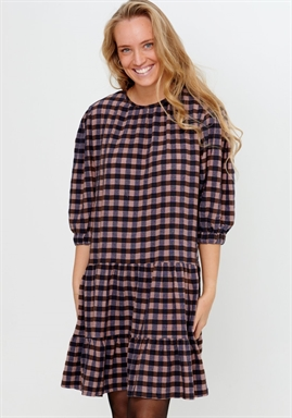 Noella - TANNY DRESS COTTON - Rose/brown Checks