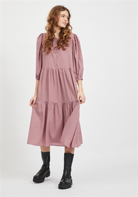 VILA - VIGILINA 3/4 CHECKED MIDI DRESS