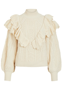VILA - VIMISTY L/S FRINDGE DETAIL KNIT - Birch