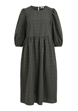 VILA - VIAMINNI O-NECK 3/4 MIDI DRESS - IVY GREEN CHECKS