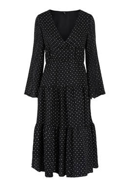 Y.A.S - YASDORTHE LS DRESS - BLACK W. WHITE DOT